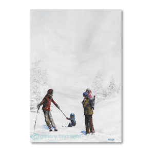 Beautiful snow scene with parents on skis pulling one child on skis and carrying 2nd child