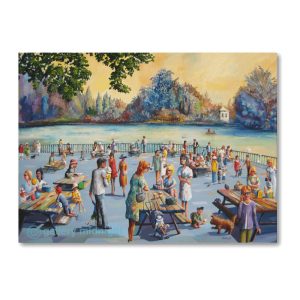 Impressionist landscape of families enjoying picnics at tables by the lake in Battersea Park