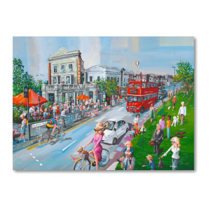Painting of Bellvue Road, Wandsworth Common, The Hope Pub with lots of people enjoying the sunshine