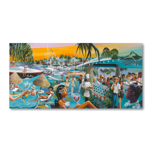 Fun packed painting of holiday makers in St Lucia, sun bathing, drinking cocktails