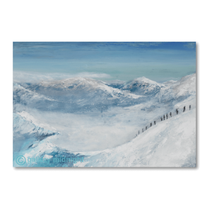 Scenic painting of Valle Blanch mountains with a line of skiers walking along a mountain ridge