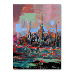London's iconic Battersea Power station oil on canvas painting by Johny Midnight in abstract style