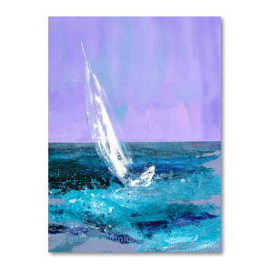 Single sailing boat on blue choppy water set against beautiful purlple sky