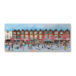Painting of Ritherdon Road, Balham local shops and businesses packed with local people in the streets