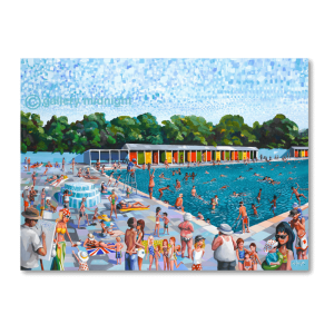Painting of Tooting Lido in the summer packed with families, swimming, sunbathing and having fun. Colourful and full of characters