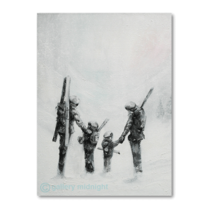Two adults and two children carrying skis walking through snow storm after a long day skiing