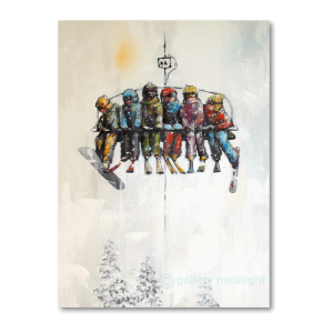 Five skiers and and a lone snowboarder sitting on a chairlift looking at the mountains