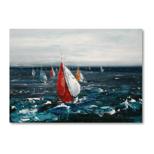 Colourful sailing boats on choppy dark blue waters and white sky