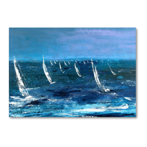 A fleet of sailing boats in choppy waters as far as the eye can see into the distance