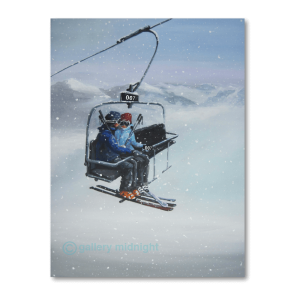 A romantic couple cuddling on chairlift number 007 whith moutain snowy background scene
