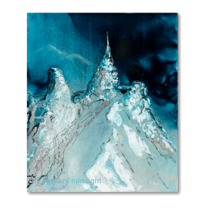 3 mountain peaks in icy blue colours against a black night sky