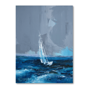 White sailing boat on dark blue choppy waters against a dark grey sky that looks like a storm coming