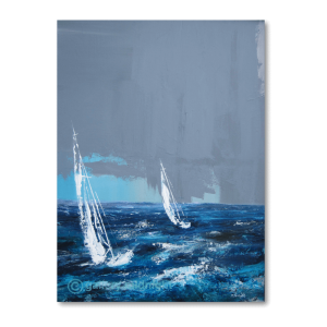 2 White sailing boats on dark blue choppy waters against a dark grey sky that looks like a storm coming