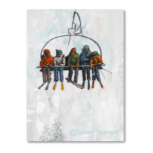 A snowboarder stuck between 4 skiers on a chairlift - white snowy background