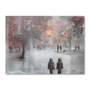 The back of a couple walking through a common, autumn mist and trees with pink leaves in the background