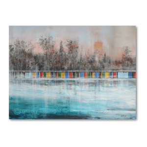 Picture of Tooting Lido in autumn. Pink skies, bare trees, colourful changing cabins and ice blue waters of the swimming pool