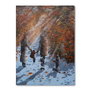 Family of four with their backs to the picture walking through the autum trees and sunlight shining through