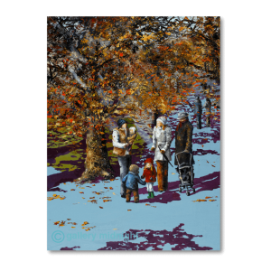 Family walking through beautiful autumn coloured leave trees