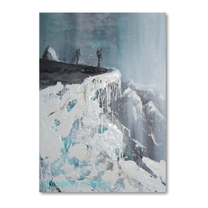 Two climbers standing on a cliff ledge looking out to Mountain Peaks in the distance. Dark grey skies and ice dripping from the mountain like icing on a cake