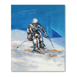Olympian Graham Bell in action down hill skiing