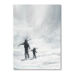 Black and white picture of father and son both carrying skis on their shoulders in white snowy valley