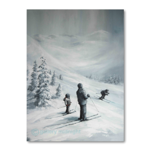 Father and son watching another child skiing past them down the mountain. Snow capped fir trees and white covered valley in the background
