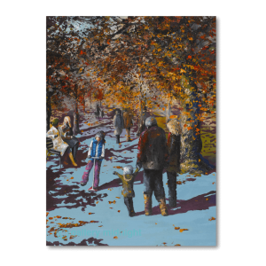 Family walking through trees in autumn, beautifully coloured leaves, sun shinging through and kid pointing to another kid with a scooter