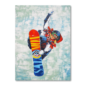 Olympian Jenny Jones in mid air on her colourful snowboardwith snow in the background