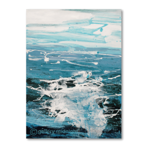 Abstract painting of choppy sea waters which merges into the sky and clouds