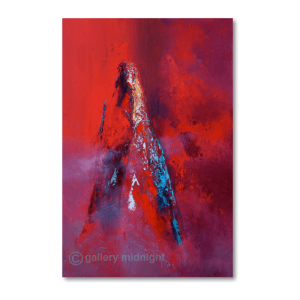 Abstract picture of Les Drus mountain peak in bright red colours