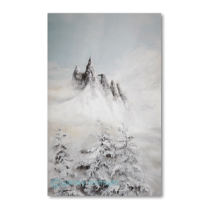 5 steep snowy mountain peaks set against Mont Blanc with snow capped fir trees