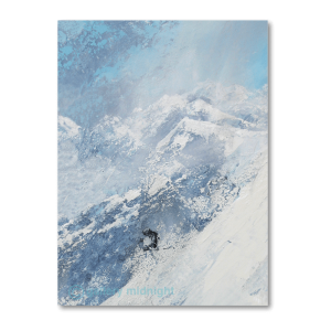 A lone skier off piste skiing through fresh powder - can just about see him amongst the backdrop of snowfall and white mountains