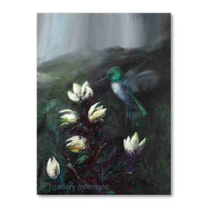 Green and blue hummingbird in mid flight hovering over some white flowers with sunlight bursting through a dark sky