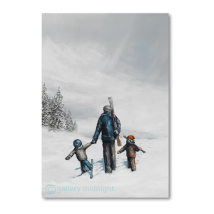 One adult carrying skis holding hand of one child on skis and another child walking next to him through deep white snow valley
