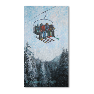 Four skiers on chairlift on a snowy day high up above mountain of snow capped fir trees