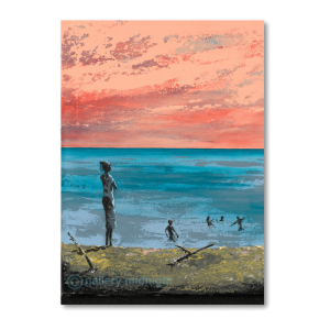 Four children swimming in the sea with adult watching from the beach with a pink sunset