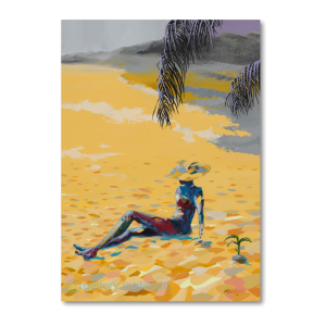 Lady in bikini and sun hat sunbathing on golden sandy beach that runs into the distance. Palm tree leaves giving her shade.