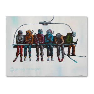 Six skiers all wrapped up on chair lift talking to each other except for one who looks very hungover at the end