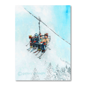 A family squashed onto chairlift all wearing colourful ski gear - no faces, blue skies and white snow capped trees below