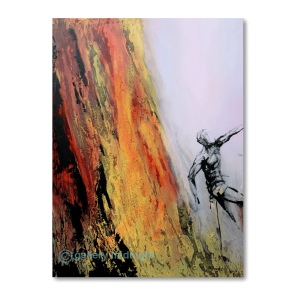 Harsh yed and yellow rock face with climber hanging almost mid air