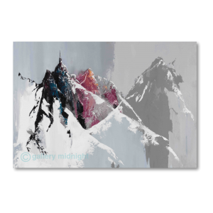Aiguille du Midi grey icy mountain range with black and pink steap peaks