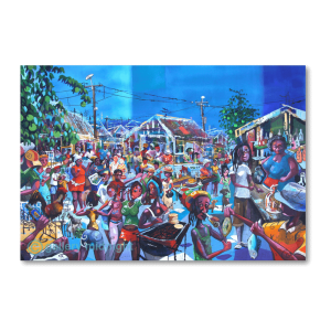 Busy picture full of colourful people in Caribbean setting with Barbeques, drinking, dancing and even Amy Winehouse hidden amongst them.