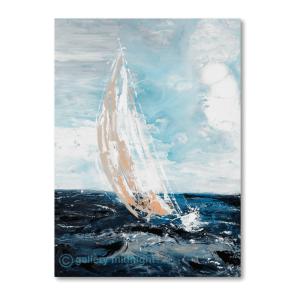 Sailing boat with white sail that looks stretched in the wind on choppy blue waters and light blue sky with clouds