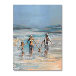 Two parents and two children walking along the beach where the waves hit the shore - with blue skies