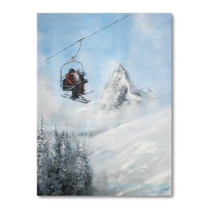 Two skiers high up on chairlift with Matterhorn mountain peak in the background, blue skies and fir trees below them.