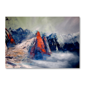Mulitple mountain peaks in blue and red peaking through the clouds with sunlight shining through