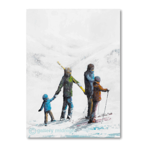 Family on skis with smallest child holding parents hand and having their skis carried. Background white mountains