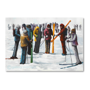 Large group of colourful skiers and snowboarders standing in a circle holding boards and skis at meeting point on the slopes