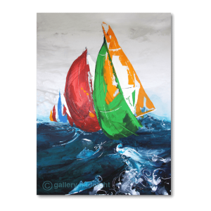 One red, green and red sailing boat on high blue seas with choppy waves and grey skies and more boats in the background