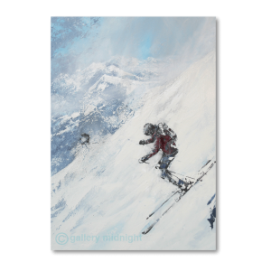 Two skiers racing each other down very steep off piste slope. Lots of powder and blue skies seeping through the clouds